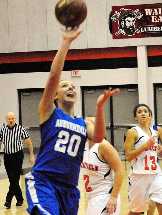 Auburndale's Mikayla Jankowski drives in for a layup during Thursday's girls basketball game at Marshfield High School. (Photo by Paul Lecker/MarshfieldAreaSports.com)