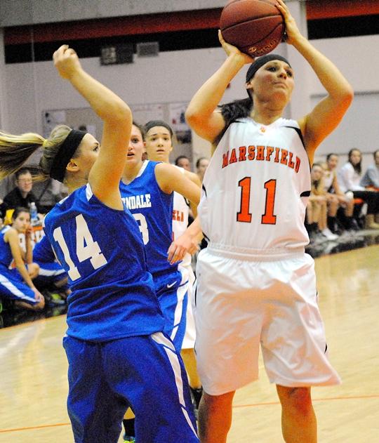 Marshfield's Natalie Zuelke scores inside during Thursday's win over Auburndale at Marshfield High School. (Photo by Paul Lecker/MarshfieldAreaSports.com)