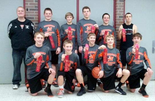 The Marshfield Tiger Hoops Club eighth grade boys basketball team took sixth place at the Wisconsin State Invitational Championship Tournament last weekend in Marshfield. Team members are, in front from left, Braden Bohman, Hunter Schultz, Nathan McGrath, Alec Hinson and Connor Jasurda. In back, Coach Chris Fischer, Branden Bell, Grant Michaelis, Nick Stewart, Jared Klein and Derek Michalski. (Photo submitted)