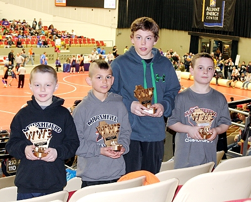 Four members of the Marshfield Youth Wrestling program earned medals at the 2013 Wisconsin Wrestling Federation Kids Folkstyle State Tournament on March 22-23 at Alliant Energy Center in Madison. From left to right are Hoyt Blaskowski (fourth place), Brock Bennington (fifth place), Bentley Schwanabeck (fourth place) and Joey Carolfi (second place). (Photo submitted)