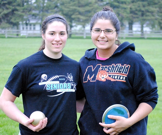 Marshfield girls throwers Melissa May, left, and Yasmeena Ougayour will compete at the WIAA State Track and Field Championships at the University of Wisconsin-La Crosse on Friday and Saturday. May will compete in the shot put and Ougayour in the discus. (Photo by Paul Lecker/MarshfieldAreaSports.com)