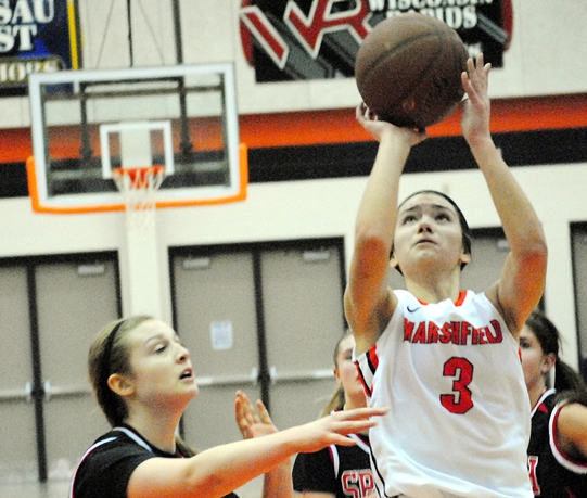 Marshfield's Caitlin Michaelis was named to the first team of the 2013-14 All-Wisconsin Valley Conference Girls Basketball Team. (Photo by Paul Lecker/MarshfieldAreaSports.com)