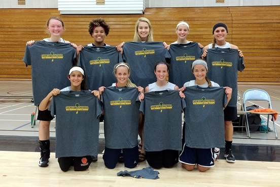 The Marshfield Tigers girls basketball summer league team won the league championship with a last-second victory over D.C. Everest last Wednesday. Team members are, front from left, Ana Jensen, Ellie Kummer, McKayla Scheuer and Caitlin Michaelis. Back, Lauren Gilbertson, Kailey Hubler-Marti, Ellie Fehrenbach, Ema Fehrenbach and Natalie Zuelke. (Photo submitted)