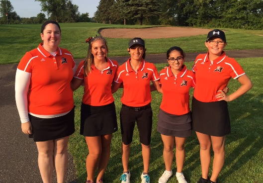 The Marshfield girls golf team competed at the Sparta Invitational on Saturday. Team members are, from left, coach Ashley Lorenzen, Patty Bloczynski, Ana Jensen, Roma Shah and Jordyn Fitzgerald. (Photo submitted)