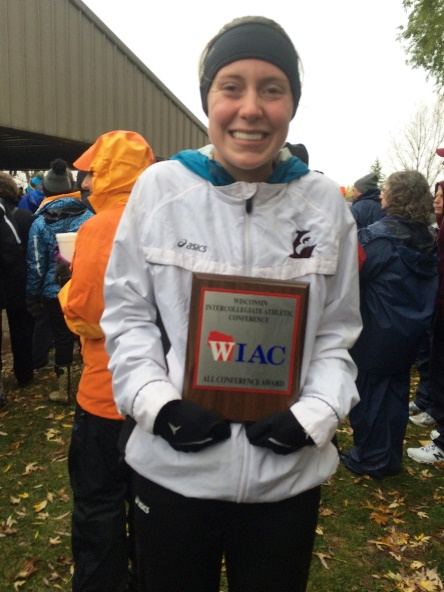 Rebecca Voss, a 2014 Marshfield High School graduate and a sophomore on the UW-La Crosse women's cross country team, took fifth at the 2015 WIAC Championships on Saturday in Winneconne. (Submitted photo)