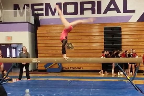 Marshfield freshman Emma Haugen competes in the balance beam at the WIAA Division 1 gymnastics sectional Saturday at Eau Claire Memorial High School. Haugen tied for third in the vault to qualify for next week's state tournament. (Photo submitted by Allie Dryer/Marshfield Gymnastics)