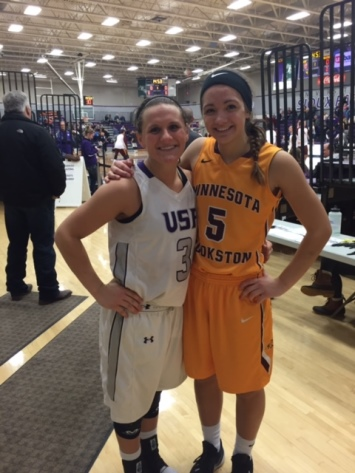 Marshfield High School graduates Taylor Varsho, left, and Caitlin Michaelis recently finished their seasons on the women's basketball teams at the University of Sioux Falls and Minnesota-Crookston, respectively. (Submitted photo)