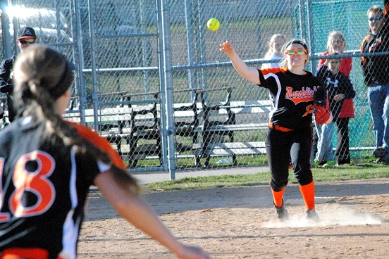 Marshfield sophomore Megan Donahue will be force at the plate and on the mound this season for the Tigers. (Photo by Paul Lecker/MarshfieldAreaSports.com)