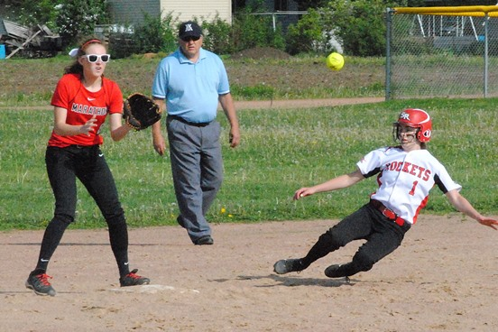 Spencer's Courtney Buss slides safely into second base during the first inning of a WIAA Division 3 softball regional final against Marathon Friday at Spencer High School. Marathon won 2-1 in nine innings. (Photo by Paul Lecker/MarshfieldAreaSports.com)