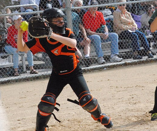 Stratford catcher Brittany Bredemann throws out a runner trying to steal during the second inning of the Tigers' 2-0 loss to Laconia in a WIAA Division 3 softball sectional final Thursday at Spud Field in Plover. (Photo by Paul Lecker/MarshfieldAreaSports.com)