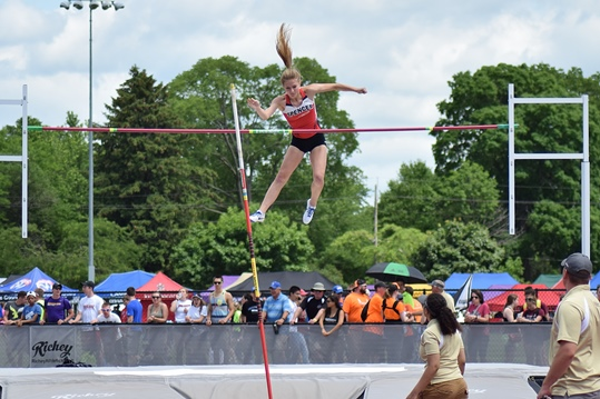 Spencer's Johanna Ellefson clears the bar in the girls Division 3 pole vault at the 2016 WIAA State Track & Field Championships at the University of Wisconsin-La Crosse on Saturday. She won the event with a vault of 11 feet. (Photo courtesy of Eric LeJeune/Hub City Times)