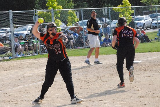 Stratford third baseman Kaylee Geiger makes a throw to first after fielding a bunt during the Tigers' 2-0 loss to Laconia in a WIAA Division 3 softball sectional final Thursday at Spud Field in Plover. (Photo by Paul Lecker/MarshfieldAreaSports.com)