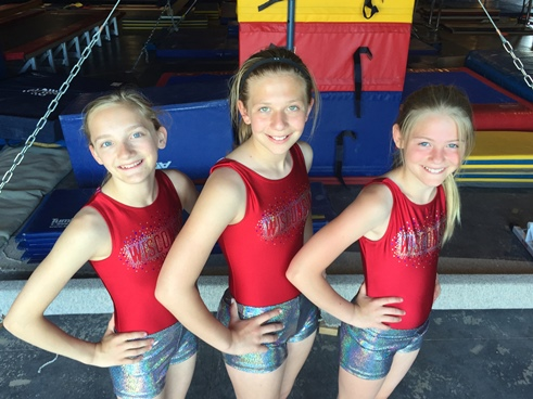 Members of the Marshfield MAGIC gymnastics team competing in the national tournament at Disney World in Orlando, Fla., this weekend are, from left, Rachel Lindner, Ashlyn Guldan and Kayla Drexler. (Photo courtesy of Allie Dryer)