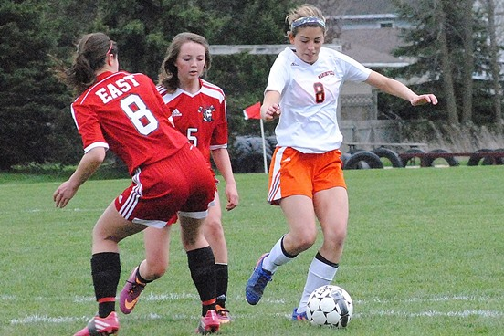 Marshfield junior Maddie Haessly, right, was a second-team pick to the 2016 All-Wisconsin Valley Conference Girls Soccer Team. (Photo by Paul Lecker/MarshfieldAreaSports.com)