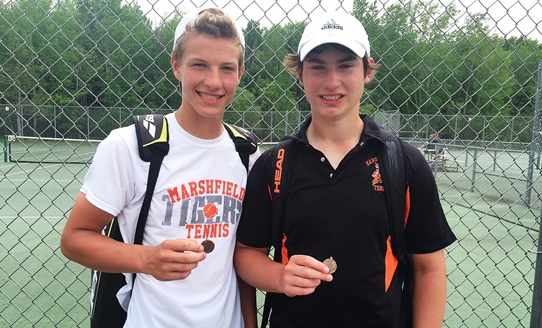 The Marshfield doubles team of Derek Reckner, left, and Evan Fait lost its first-round match at the WIAA State Individual Boys Tennis Tournament on Thursday in Madison. (Submitted photo)