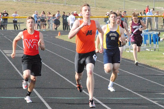 Marshfield senior Calden Wojt competes in the 100 meters at the WIAA Division 1 track regional at Wausau West on May 23. Wojt will run in the 100, 200 and 400 meters at the WIAA State Track & Field Championships at the University of Wisconsin-La Crosse on Friday and Saturday. (Photo by Paul Lecker/MarshfieldAreaSports.com)