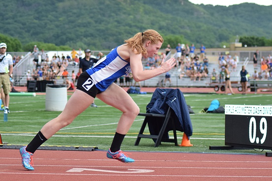 Auburndale's Rachel Gronemeyer gets out of the blocks in the 400-meter dash at the at the 2016 WIAA State Track & Field Championships at the University of Wisconsin-La Crosse on Friday. She finished in 1:01.25 to qualify for Saturday's final. (Photo courtesy of Eric Lejeune/Hub City Times)
