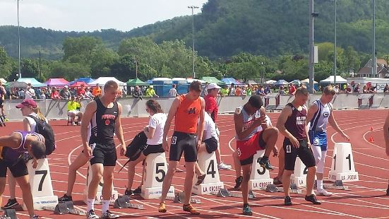 Marshfield's Calden Wojt, middle, prepares to run in the 200-meter preliminaries at the WIAA State Track & Field Championships on Friday at the University of Wisconsin-La Crosse. (Photo courtesy of Dean Bryan/Marshfield High School track)