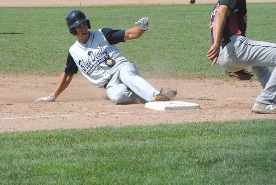 Marshfield Post 54's Nate McDonald steals third base during the first inning of the Blue Devils' loss to Eau Claire at the Wisconsin Class AAA State American Legion Baseball Tournament on Friday morning at Jack Hackman Field in Marshfield. (Photo by Paul Lecker/MarshfieldAreaSports.com)