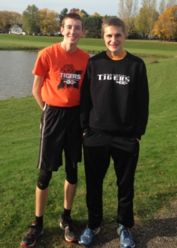 Marshfield juniors Jared Oemig, left, and Jordan Dzikowich earned all-Wisconsin Valley Conference cross country honors after finishing in the top 15 at the conference meet on Oct. 15 at Frey Field in Spencer. (Submitted photo)
