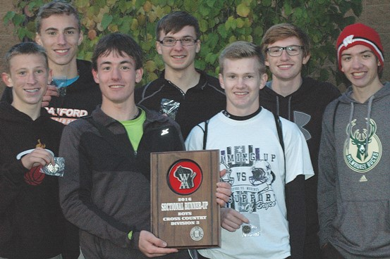 The Stratford boys cross country team finished second at the WIAA Division 3 sectional at Nine Mile Recreation Area in Rib Mountain on Oct. 21, earning a spot in Saturday's WIAA State Cross Country Meet in Wisconsin Rapids. Team members are, front from left, Isaac Thompson, Isaac Guyer, and Lucas Heidmann. Back, Jacob Danen, Chris Zuelke, Cade Lehman and Sam Schoenfuss. (Submitted photo)